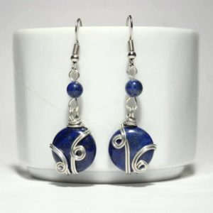 Wire Wrapped Lapis Lazuli Earrings, Lapis Earrings, Wire Wrapped, Silver Earrings, Handmade Jewelry, Christmas gift, Lovely gift | Natural genuine Gemstone earrings. Buy crystal jewelry, handmade handcrafted artisan jewelry for women.  Unique handmade gift ideas. #jewelry #beadedearrings #beadedjewelry #gift #shopping #handmadejewelry #fashion #style #product #earrings #affiliate #ad