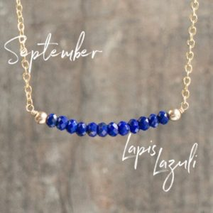 Shop Lapis Lazuli Jewelry! Lapis Lazuli Necklace, Bridesmaids Gift for Women, Delicate Necklace, September Birthstone Necklace, Blue Gemstone Bar Necklace, Jewelry | Natural genuine Lapis Lazuli jewelry. Buy crystal jewelry, handmade handcrafted artisan jewelry for women.  Unique handmade gift ideas. #jewelry #beadedjewelry #beadedjewelry #gift #shopping #handmadejewelry #fashion #style #product #jewelry #affiliate #ad