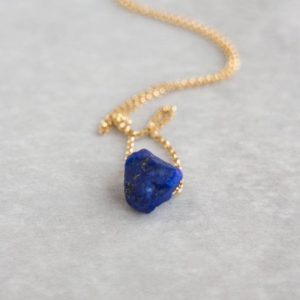 Raw Lapis Lazuli Necklace, Crystal Jewelry Gift For Her | Natural genuine Lapis Lazuli necklaces. Buy crystal jewelry, handmade handcrafted artisan jewelry for women.  Unique handmade gift ideas. #jewelry #beadednecklaces #beadedjewelry #gift #shopping #handmadejewelry #fashion #style #product #necklaces #affiliate #ad