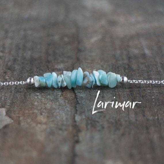 Natural Larimar Necklace, Raw Gemstone Necklace, Raw Larimar Rose Gold Necklace, Larimar Jewelry, Larimar Stone Necklaces For Women