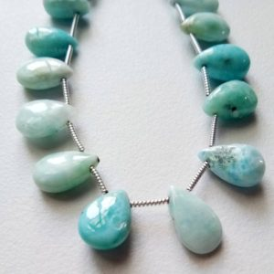 Shop Larimar Bead Shapes! 6×8-7x14mm Larimar Plain Pear Beads, Larimar Smooth Pear Beads, Larimar For Jewelry, Blue Plain Beads 19 Pcs In A 8 Inch Strand – KS5065 | Natural genuine other-shape Larimar beads for beading and jewelry making.  #jewelry #beads #beadedjewelry #diyjewelry #jewelrymaking #beadstore #beading #affiliate #ad