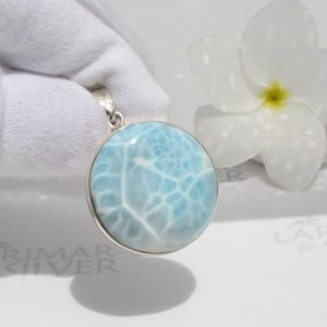 Larimar pendant by Larimarandsilver, Turtle Source – crystal blue Larimar round/turtleback/clear water/handmade Larimar jewelry/woman gift | Natural genuine Larimar necklaces. Buy crystal jewelry, handmade handcrafted artisan jewelry for women.  Unique handmade gift ideas. #jewelry #beadednecklaces #beadedjewelry #gift #shopping #handmadejewelry #fashion #style #product #necklaces #affiliate #ad