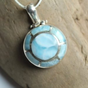 Shop Larimar Necklaces! LARIMAR round pendant, AUTHENTIC Dominican Republic, LARIMAR necklace, unique design larimar pendant, 925 sterling silver, handmade | Natural genuine Larimar necklaces. Buy crystal jewelry, handmade handcrafted artisan jewelry for women.  Unique handmade gift ideas. #jewelry #beadednecklaces #beadedjewelry #gift #shopping #handmadejewelry #fashion #style #product #necklaces #affiliate #ad