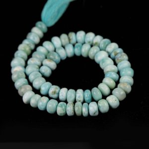 Shop Larimar Rondelle Beads! Larimar Smooth Rondelle 8 MM Beads 16 Pieces of Aqua Blue White Cream Exotic Gemstones | Natural genuine gemstone beads for making jewelry in various shapes & sizes. Buy crystal beads raw cut or polished for making handmade homemade handcrafted jewelry. #jewelry #beads #beadedjewelry #product #diy #diyjewelry #shopping #craft #product