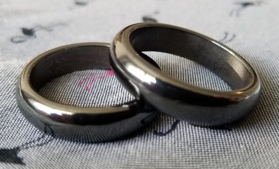 Magnetic Hematite Ring Band Buy2+1free Unusual Silver-black.men.women 6mm Half Round Size 5,6,6.25,5.75,8,9,9.25,9.5,10,10.25,11.25,11.75,12