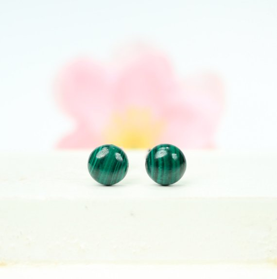 Dot Earrings - Malachite Earrings - Simple Stud Earrings - Round Green Earrings - Circle Earrings - Round Dot Earrings