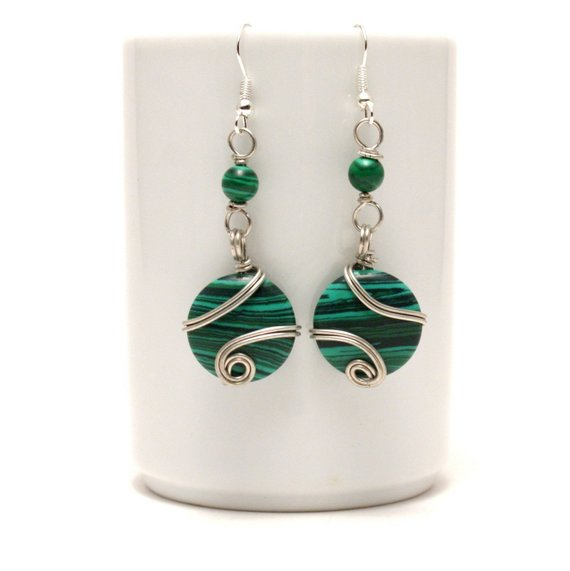 Wire Wrapped Malachite Earrings, Green Stone Earrings, Wire Wrapped, Silver Earrings, Handmade Jewelry, Christmas Gift For Mom / Her / Women