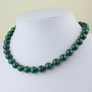 "Shop Malachite Necklaces! Malachite Necklace 10mm Green Malachite Beads Necklace Hand Knotted 16"". Genuine Natural 10 mm Malakite Stone. MapenziGems 