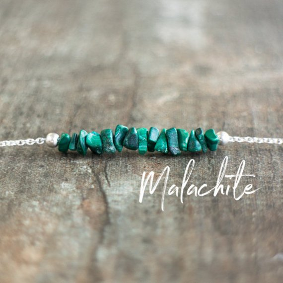 Raw Malachite Necklace In Sterling Silver Or Gold, Chakra Necklaces For Women, Natural Malachite Jewelry, Healing Stone Necklace