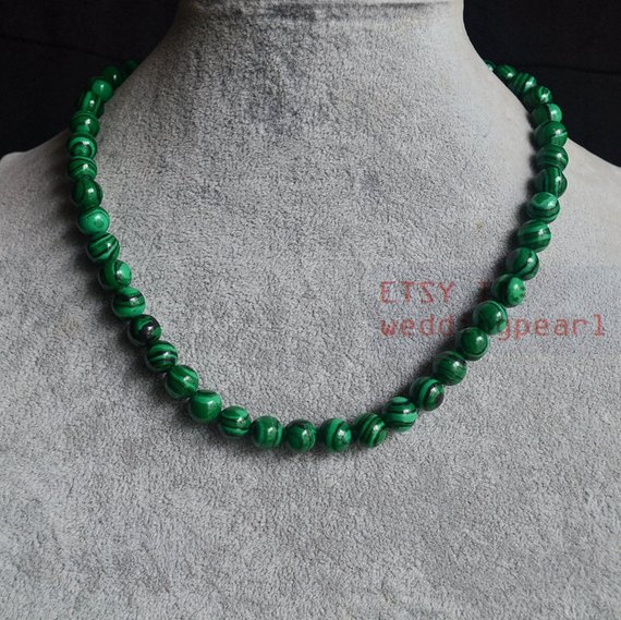 Malachite Necklace,sing Strand 8mm Green Bead Necklace,man-made Malachite Necklace, Women Necklace,statement Necklace
