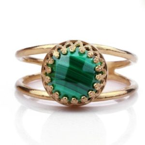 Shop Malachite Rings! Pink gold ring · malachite ring · gemstone ring · double band ring · bridal ring · rose gold ring · custom ring | Natural genuine Malachite rings, simple unique alternative gemstone engagement rings. #rings #jewelry #bridal #wedding #jewelryaccessories #engagementrings #weddingideas #affiliate #ad