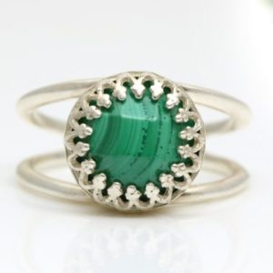 Shop Malachite Rings! Silver Malachite Ring, gemstone Ring, green Ring, faceted Ring, solitaire Ring, sterling Silver Ring | Natural genuine Malachite rings, simple unique handcrafted gemstone rings. #rings #jewelry #shopping #gift #handmade #fashion #style #affiliate #ad