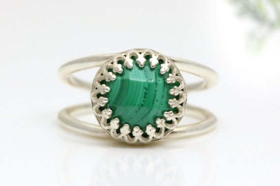 Silver Malachite Ring, Gemstone Ring, Green Ring, Faceted Ring, Solitaire Ring, Sterling Silver Ring