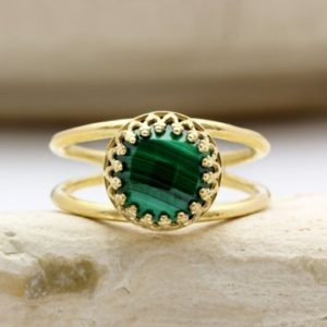 Malachite Ring, gold Ring, green Ring, stacking Ring, double Band Ring, gemstone Ring, bridal Ring, stack Ring, delicate Ring | Natural genuine Malachite rings, simple unique alternative gemstone engagement rings. #rings #jewelry #bridal #wedding #jewelryaccessories #engagementrings #weddingideas #affiliate #ad