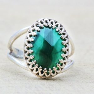 Silver Malachite Ring, gemstone Ring, oval Stone Ring, faceted Ring, silver Rings, malachite Jewelry, green Ring | Natural genuine Malachite rings, simple unique handcrafted gemstone rings. #rings #jewelry #shopping #gift #handmade #fashion #style #affiliate #ad