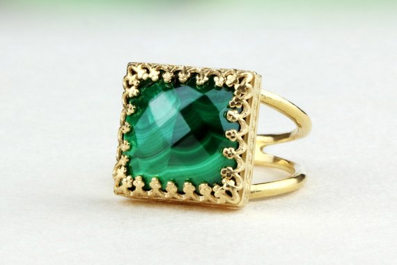 Malachite Ring,gold Ring,solid Gold Ring,gemstone Ring,birthstone Rings,gold Stone Ring,14k Gold Filled Ring