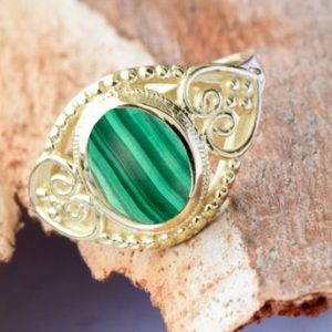 Shop Malachite Rings! Malachite Statement Ring 14k yellow gold | Natural genuine Malachite rings, simple unique handcrafted gemstone rings. #rings #jewelry #shopping #gift #handmade #fashion #style #affiliate #ad
