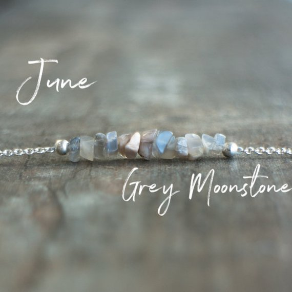 Grey Moonstone Necklace, June Birthstone Necklace, Bridesmaids Gifts For Her, Crystal Choker, Chakra Necklace, Bar Necklace, Birthday Gifts