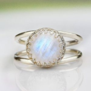 Shop Rainbow Moonstone Rings! Rainbow moonstone ring,silver ring,moonstone jewelry,October birthstone,silver stone ring,bridal ring,promise ring | Natural genuine Rainbow Moonstone rings, simple unique alternative gemstone engagement rings. #rings #jewelry #bridal #wedding #jewelryaccessories #engagementrings #weddingideas #affiliate #ad