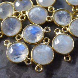 Shop Moonstone Round Beads! Moonstone Gemstone Connector Link Pendant, Bezel Set, 24k Gold Plated, 9-9.5 Mm Round, Gc Gcl2.l | Natural genuine round Moonstone beads for beading and jewelry making.  #jewelry #beads #beadedjewelry #diyjewelry #jewelrymaking #beadstore #beading #affiliate #ad