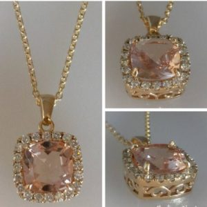 Shop Morganite Necklaces! Morganite Pendant 3ct Cushion Cut Pink Peach Morganite .56ct Genuine Diamond halo Necklace Vintage Pendant Yellow Gold Pristine Custom rings | Natural genuine Morganite necklaces. Buy crystal jewelry, handmade handcrafted artisan jewelry for women.  Unique handmade gift ideas. #jewelry #beadednecklaces #beadedjewelry #gift #shopping #handmadejewelry #fashion #style #product #necklaces #affiliate #ad