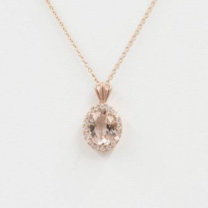 Morganite Diamond Necklace.0.14 Ct High Quality Diamond & 8×6 Mm Aaa Natural Oval Morganite Pendant.14k Rose Gold Necklace.simple Necklace | Natural genuine Morganite pendants. Buy crystal jewelry, handmade handcrafted artisan jewelry for women.  Unique handmade gift ideas. #jewelry #beadedpendants #beadedjewelry #gift #shopping #handmadejewelry #fashion #style #product #pendants #affiliate #ad
