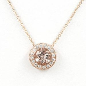 Morganite Diamond Necklace.0.25ct High Quality Diamond & 7mm AAA Natural Morganite.Slide Pendant.14k Rose Gold Necklace.Simple Necklace | Natural genuine Morganite pendants. Buy crystal jewelry, handmade handcrafted artisan jewelry for women.  Unique handmade gift ideas. #jewelry #beadedpendants #beadedjewelry #gift #shopping #handmadejewelry #fashion #style #product #pendants #affiliate #ad