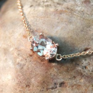 Shop Morganite Jewelry! Morganite Pendant <Prong> Solid 14K Rose Gold (14KR) Affordable Colored Stone Chain Necklace *Fine Jewelry* (Free Shipping) | Natural genuine Morganite jewelry. Buy crystal jewelry, handmade handcrafted artisan jewelry for women.  Unique handmade gift ideas. #jewelry #beadedjewelry #beadedjewelry #gift #shopping #handmadejewelry #fashion #style #product #jewelry #affiliate #ad