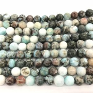Shop Larimar Round Beads! Natural Blue Larimar 10mm / 12mm Round Genuine Grade B Loose Beads 15 inch Jewelry Supply Bracelet Necklace Material Support Wholesale | Natural genuine round Larimar beads for beading and jewelry making.  #jewelry #beads #beadedjewelry #diyjewelry #jewelrymaking #beadstore #beading #affiliate #ad