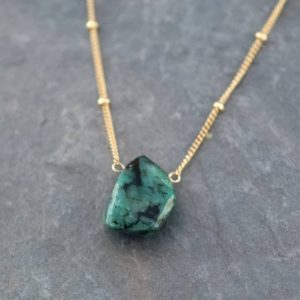 Natural Emerald Necklace, Raw Stone Necklace, Gold Satellite Chain, Rough Gemstone Nugget, Layering Necklace, May Birthstone Gift, NK-ST | Natural genuine Emerald necklaces. Buy crystal jewelry, handmade handcrafted artisan jewelry for women.  Unique handmade gift ideas. #jewelry #beadednecklaces #beadedjewelry #gift #shopping #handmadejewelry #fashion #style #product #necklaces #affiliate #ad