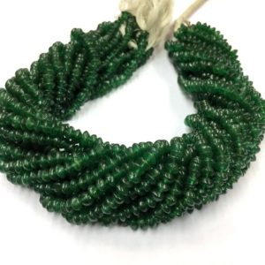 "Shop Jade Rondelle Beads! Natural Smooth Nephrite Jade Rondelle Beads 5.MM Jade Gemstone Beads 14"" Strand Wholesale Price Gem Beads 