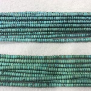 Shop Turquoise Rondelle Beads! Natural Turquoise 2x4mm Rondelle Blue Genuine Loose Grade A Beads 15 inch Jewelry Supply Bracelet Necklace Material Support | Natural genuine rondelle Turquoise beads for beading and jewelry making.  #jewelry #beads #beadedjewelry #diyjewelry #jewelrymaking #beadstore #beading #affiliate #ad