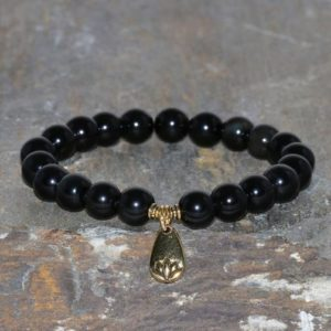 Shop Obsidian Bracelets! Sheen Obsidian Bracelet Handmade 8mm Sheen Obsidian Gemstone Bracelet Stack Bracelet Unisex Bracelet Gift Bracelet Gold Plated Lotus Charm | Natural genuine Obsidian bracelets. Buy crystal jewelry, handmade handcrafted artisan jewelry for women.  Unique handmade gift ideas. #jewelry #beadedbracelets #beadedjewelry #gift #shopping #handmadejewelry #fashion #style #product #bracelets #affiliate #ad