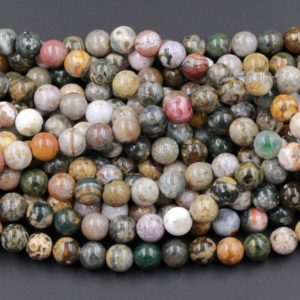 "Natural Ocean Jasper Round Beads 4mm 6mm 8mm 10mm 12mm High Quality Round Beads 15.5"" Strand 