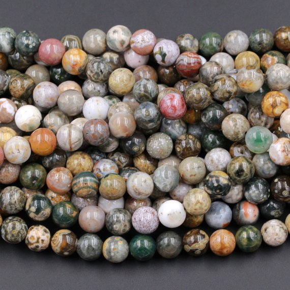 "Natural Ocean Jasper Round Beads 4mm 6mm 8mm 10mm 12mm High Quality Round Beads 15.5"" Strand"
