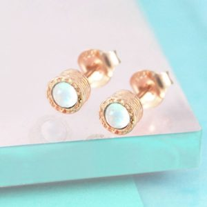 Rose Gold Studs, Opal Stud Earrings, 925 Earrings, Dainty Studs, Gemstone Earrings, Rose Gold Jewelry, October Birthstone, Bridesmaids Gift | Natural genuine Gemstone earrings. Buy crystal jewelry, handmade handcrafted artisan jewelry for women.  Unique handmade gift ideas. #jewelry #beadedearrings #beadedjewelry #gift #shopping #handmadejewelry #fashion #style #product #earrings #affiliate #ad