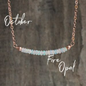 Shop Opal Jewelry! Opal Bar Necklace, October Birthstone Gift for Wife, Fire Opal Jewelry | Natural genuine Opal jewelry. Buy crystal jewelry, handmade handcrafted artisan jewelry for women.  Unique handmade gift ideas. #jewelry #beadedjewelry #beadedjewelry #gift #shopping #handmadejewelry #fashion #style #product #jewelry #affiliate #ad