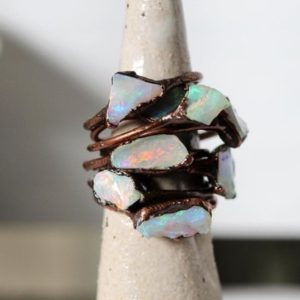 Shop Opal Rings! Australian Opal Ring – Small Stone Ring – Copper and Opal Ring – Stacking Ring – Flashy Opal | Natural genuine Opal rings, simple unique handcrafted gemstone rings. #rings #jewelry #shopping #gift #handmade #fashion #style #affiliate #ad