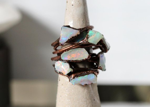 Australian Opal Ring - Small Stone Ring - Copper And Opal Ring - Stacking Ring - Flashy Opal