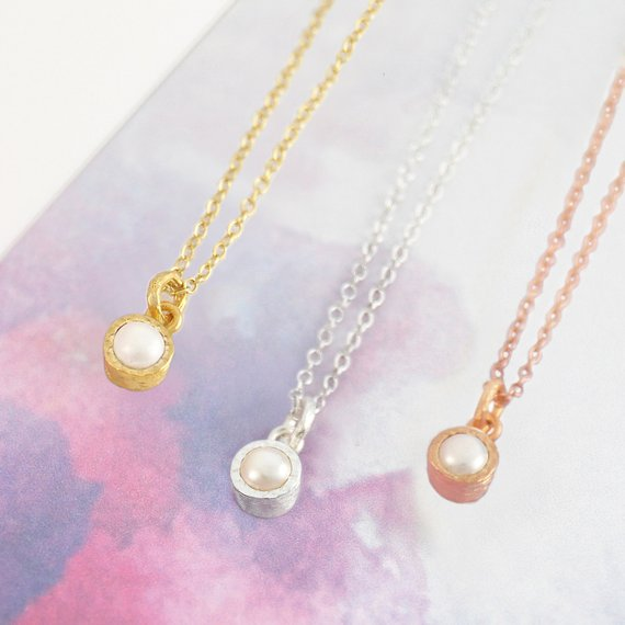 Pearl Necklace-rose Gold Necklace-white Pearl Necklace-birthstone Necklace-pearl Pendant-gold Pearl Necklace-rose Gold Pearl-silver Pearl