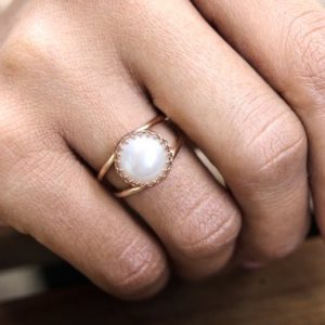 14k Rose Gold Filled Ring, white Pearl Ring, freshwater Pearl Ring, bridal Ring, bridesmaid Gifts, rose Gold Ring, pink Go | Natural genuine Pearl rings, simple unique alternative gemstone engagement rings. #rings #jewelry #bridal #wedding #jewelryaccessories #engagementrings #weddingideas #affiliate #ad