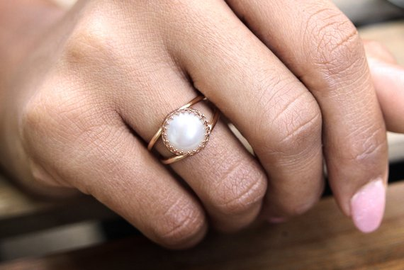 14k Rose Gold Filled Ring, White Pearl Ring, Freshwater Pearl Ring, Bridal Ring, Bridesmaid Gifts, Rose Gold Ring, Pink Go