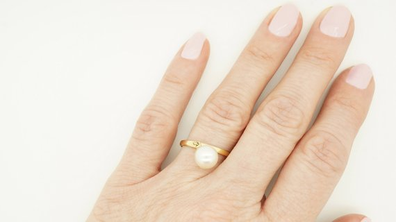 Pearl Minimalist Ring -freshwater Pearl Ring 7 Mm-pearl Ring Natural-wedding Jewelry-anniversary Ring-birthday Gift -pearl Wedding Ring