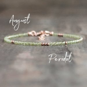 Peridot Bracelet, August Birthday Gifts, Rose Gold Stacking Bracelets, Gift for Women, August Birthstone Jewelry, Bridesmaid Gifts, | Natural genuine Peridot bracelets. Buy crystal jewelry, handmade handcrafted artisan jewelry for women.  Unique handmade gift ideas. #jewelry #beadedbracelets #beadedjewelry #gift #shopping #handmadejewelry #fashion #style #product #bracelets #affiliate #ad