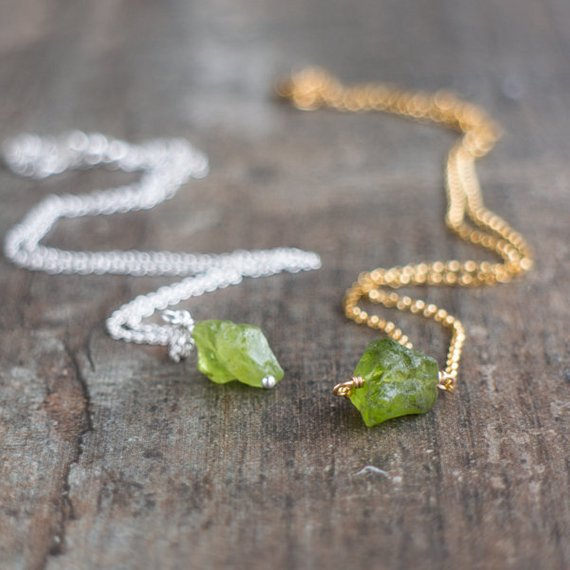 Raw Peridot Necklace, Tiny Raw Stone Necklace, Green Stone Necklace, Peridot Crystal Necklace, August Birthstone Necklaces For Women