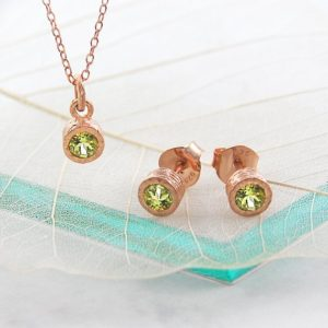 Shop Peridot Necklaces! Rose Gold Peridot Set, Gold Earrings, Green Gemstone, Gold Jewelry Set, Peridot Necklace, Peridot Studs, Gemstone Jewellery, Birthday Gifts | Natural genuine Peridot necklaces. Buy crystal jewelry, handmade handcrafted artisan jewelry for women.  Unique handmade gift ideas. #jewelry #beadednecklaces #beadedjewelry #gift #shopping #handmadejewelry #fashion #style #product #necklaces #affiliate #ad