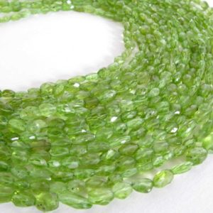 "Shop Peridot Bead Shapes! Peridot Bead Strand, Faceted Ovals, 7"" Half Strand, 6mm To 8mm, Apple Green Peridot, Genuine Peridot Gemstone, Faceted Oval Peridot 