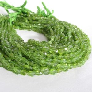 """Shop Peridot Bead Shapes! Peridot Bead Strand, Faceted Ovals, 14"""" Full Strand, 6mm to 8mm, Apple Green Peridot, Genuine Peridot Gemstone, Faceted Oval Peridot 