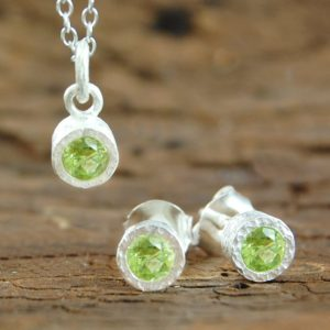 Birthstone Jewelry Set, Silver Jewelry Gift Set, Gemstone Jewelry Set, Peridot Necklace, Peridot Studs, Peridot Pendant, 925 Sterling Silver | Natural genuine Peridot pendants. Buy crystal jewelry, handmade handcrafted artisan jewelry for women.  Unique handmade gift ideas. #jewelry #beadedpendants #beadedjewelry #gift #shopping #handmadejewelry #fashion #style #product #pendants #affiliate #ad