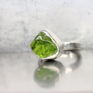 Raw Tumbled Arizona Peridot Silver Ring Rough Uneven Included Green Pear Drop Gemstone Unique Boho August Birthstone Band Her – Include Me | Natural genuine Gemstone rings, simple unique handcrafted gemstone rings. #rings #jewelry #shopping #gift #handmade #fashion #style #affiliate #ad